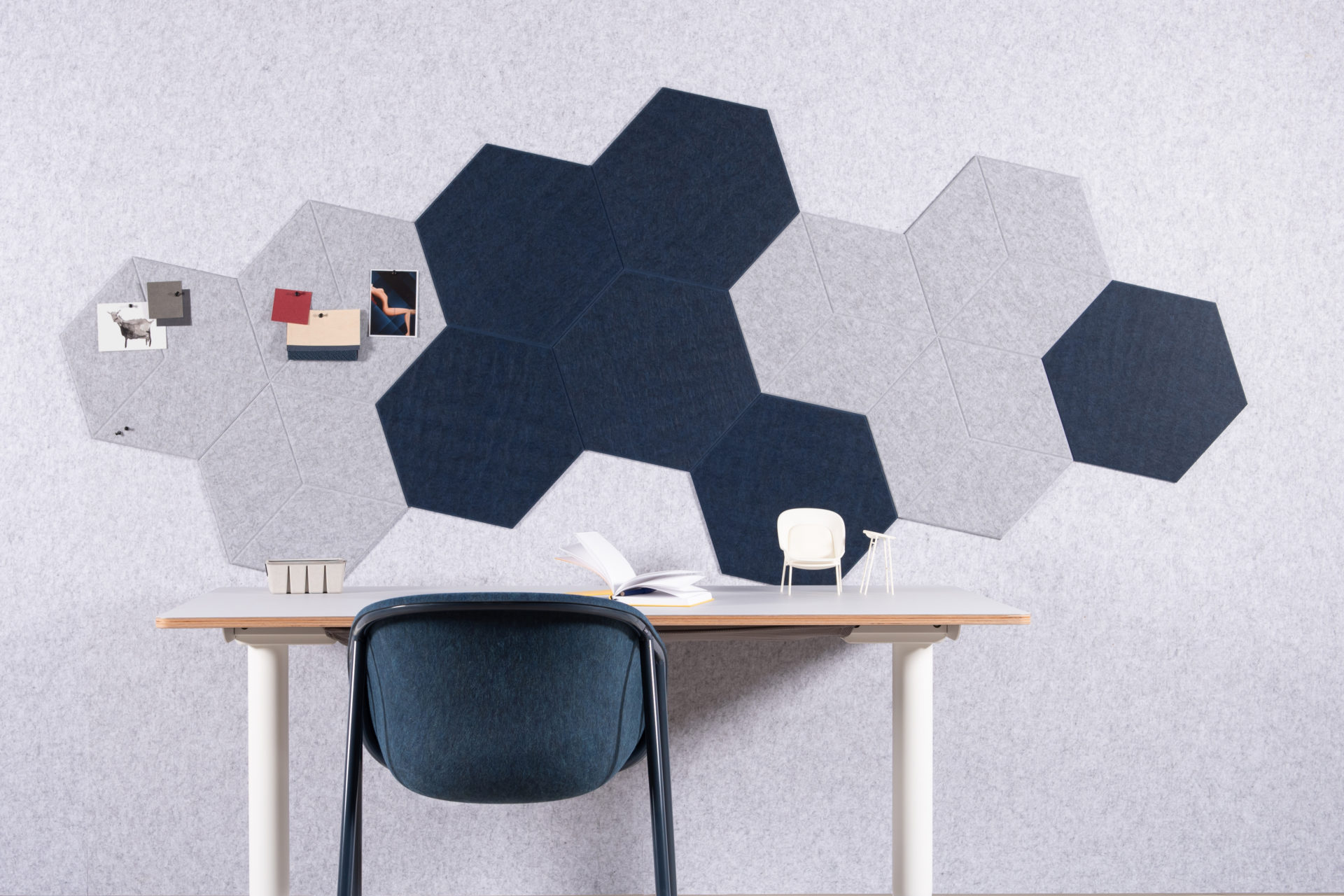 ReFelt PET Felt acoustic tile Hexagon Plain Large 47cm