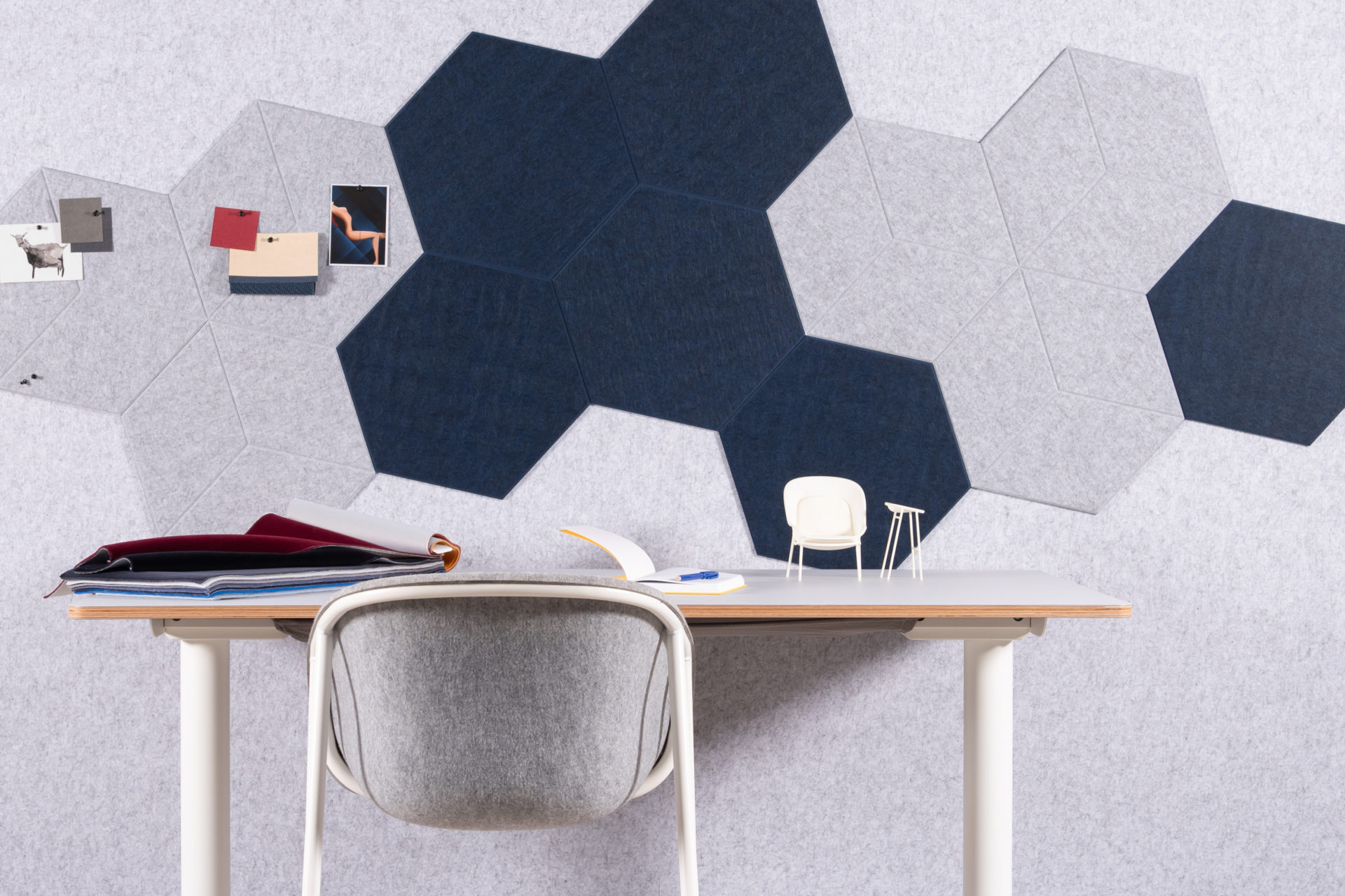 ReFelt PET Felt acoustic tile Hexagon Diamond Large 47cm 1
