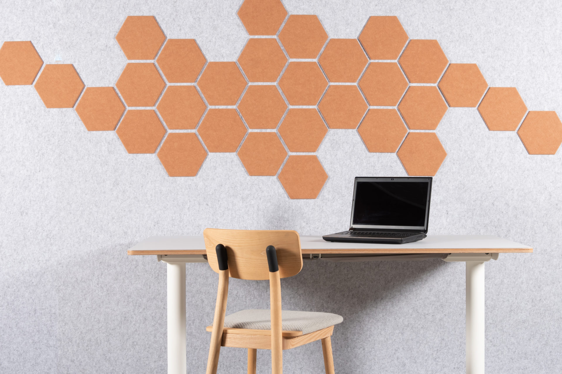 eFelt PET Felt acoustic tile Hexagon Plain Small 24cm home office