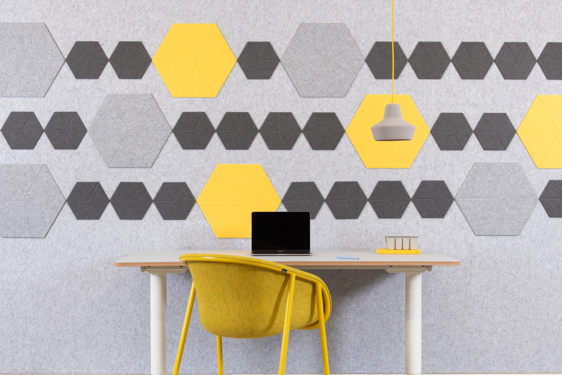 reFelt - pet felt acoustic tiles yellow setting