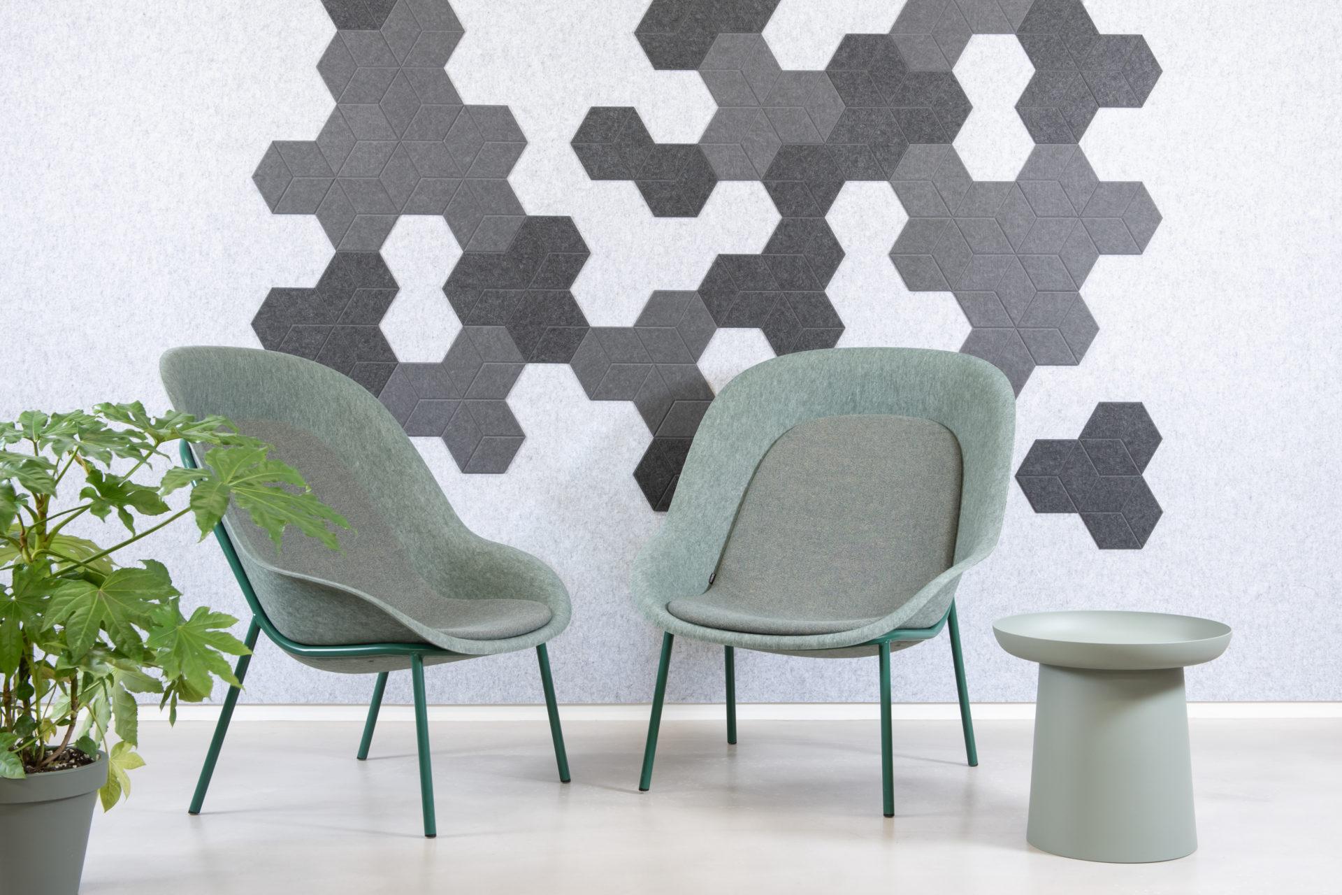 ReFelt acoustic tile hexagon home office grey
